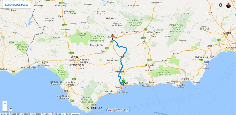 Unsere Strecke - 200 Kilometer von Malaga nach Cordoba